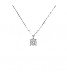 Collier - Pendentif Or Blanc Pavé Diamants - Chaine Argent 925 Offerte