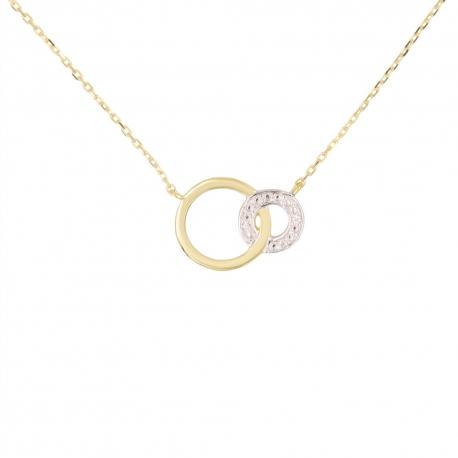 Collier Or Jaune et Diamants - Motif Anneaux - Femme
