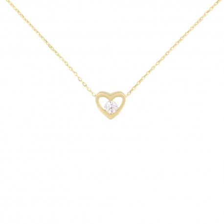 Collier Or Jaune Solitaire Zirconiums - Motif Coeur – Femme