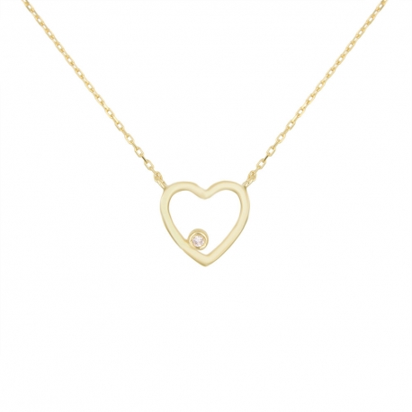 Collier Or Jaune et Diamant Solitaire - Motif Coeur – Femme