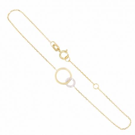Bracelet Or Jaune et Diamants - Motif Anneaux - Femme