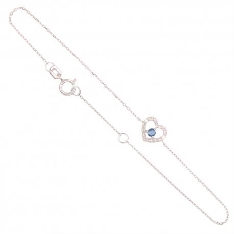 Bracelet Or Blanc Diamants et Saphir Bleu - Motif Coeur - Femme
