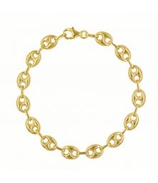 Bracelet Or 18 Carats Maille Grain de Café - Jaune - Femme