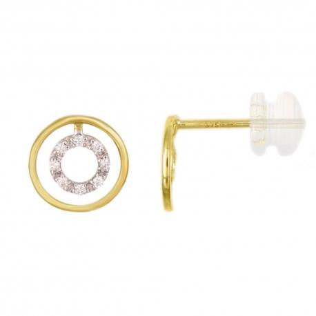 Boucles d'Oreilles Or Jaune et Diamants - Motif Anneau Serti