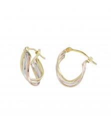 Boucles d'Oreilles Créoles - 3 Ors - Tricolores Jaune, Blanc et Rose - Femme
