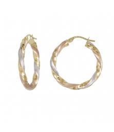 Boucles d'Oreilles Créoles Or Tricolore Jaune, Blanc et Rose - Femme