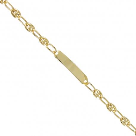 Bracelet Enfant Or Jaune - Gourmette Identité - Maille Grain de Café