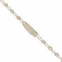 Bracelet Enfant Or Bicolore - Jaune et Blanc - Gourmette - Maille Grain de Café - Gravure Offerte