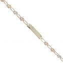 Bracelet Enfant Or Tricolore - Jaune, Blanc, Rose - Gourmette - Maille Grain de Café - Gravure Offerte