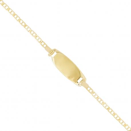 Bracelet Enfant Or Jaune - Gourmette Identité - Maille Marine