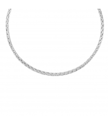 Collier Femme Maille Palmier - Or Blanc