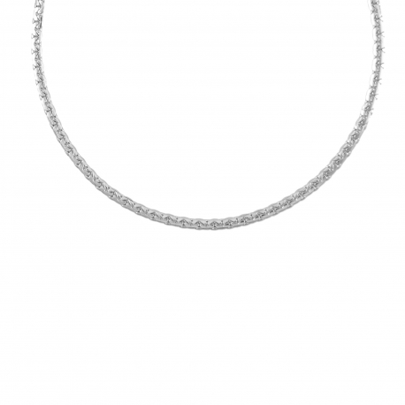 Collier Femme Maille Haricot - Or Blanc Véritable
