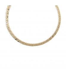Collier Femme Maille Anglaise Satinée - Or Jaune