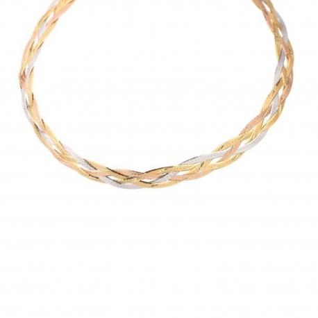 Collier Tresse Trois Ors - Or Tricolore Jaune, Blanc et Rose - Femme