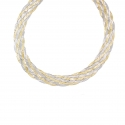 Collier Tresse Deux Ors - Or Bicolore Jaune et Blanc - Femme
