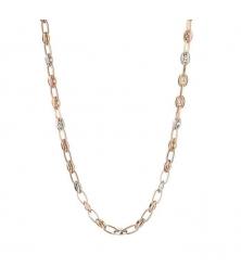 Collier Femme Trois Ors - Grains de Café Tricolores Jaune, Blanc et Rose