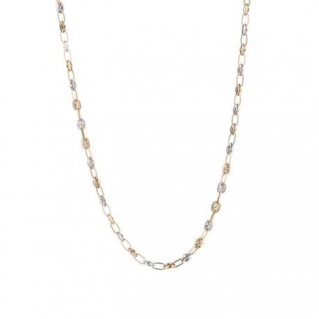 Collier Femme Deux Ors - Grains de Café Bicolores Jaune et Blanc