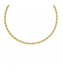 Collier Femme Maille Corde - Or Jaune
